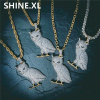 Wholesale ice stone necklace - Gold Silver Color Plated Iced Out Micro Pave CZ Stone Animal Owl Pendant Necklace Hip Hop Jewelry With 60cm Rope Chain