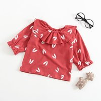 Wholesale best solid doll resale online - Best selling autumn new baby bottoming shirt T shirt female baby cotton printed doll collar primer
