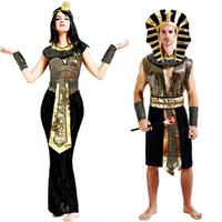 kleopatra cadılar bayramı kostümleri toptan satış-Antik Mısır Mısır Firavunu Kleopatra Prens Prenses Kostüm kadın erkek Cadılar Bayramı Cosplay Kostüm Giyim için Mısır yetişkin