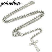 ingrosso catena di bead jesus-Gokadima per uomo in acciaio inossidabile catena perline collane per gioielli Jesus Cross Crucifix per donna in stile hip-hop gioielli WRN82