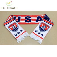 Wholesale usa materials resale online - 145 cm Size USA National Football Team Scarf for Fans Russia Football World Cup Double faced Velvet Material
