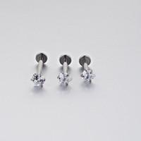delici labret yüzük toptan satış-20 parça 16G Gümüş Dahili Dişli Prong En Kalp Gem Labret Dudak Piercing Kübik Zirkonya Yüzük Tragus Kulak Piercing takı