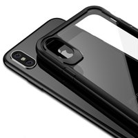 Wholesale greaseproof cases resale online - New Greaseproof Super Clear HD Transparent TPU Back Cover Case with Flexibility PC Frame Anti Fingerprints for iPhone X Goophone X Free DHL