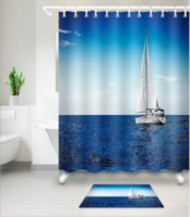 Wholesale sea print fabric resale online - Sea sailboat D pattern Print Custom Waterproof Bathroom Modern Shower Curtain Polyester Fabric Bathroom Curtain Door mat sets