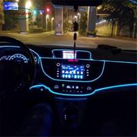ingrosso 12v el wire car-1 pz 1m flessibile EL Wire Noen Light 10 colori DC 12V auto interni a LED Strip Light Auto fai da te lampada atmosfera