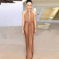 kahverengi elbise taban uzunluğu toptan satış-Halter Kılıf Kahverengi Abiye Elastik Saten Omuz Kapalı Vestidos De Fiesta Kat Uzunluk Artı Boyutu Örgün Önlükler