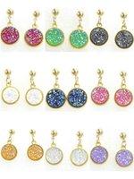 12mm vergoldeter bolzenohrringe großhandel-12mm neue Frauen vergoldet Druzy Kristalle Stud baumeln Ohrringe