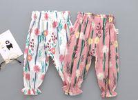 Wholesale new sweet girls - 2 color INS new baby kids clothing summer girl full flower design pant sweet pants baby girl clothing anti-mosquito soft Pants