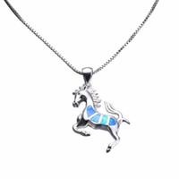 gold gefülltes pferd großhandel-Neue Kreative 925 Sterling Silber Filled Animal Schmuck Halsketten Blau Feueropal Running Horse Halsketten Anhänger Für Frauen