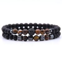 ingrosso disco ball bracelets-Commercio all'ingrosso 2 pz / set braccialetto di pietra naturale yoga uomini micro pavimenta cz palla da ballo braccialetti di fascino per le donne uomini gioielli dropshipping