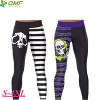 ingrosso pantalone yoga bianco viola-Black White Stripe Skull Running Tights Donna Inverno Purple Skeleton Yoga Leggins Seamless compressione Jogging Collant Donna Pant