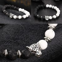 Charm Jewelry Unisex Leopard Crystal Natural Lava Stone Negro White Beaded Healing Equilibrio Energía Estirable Pulsera Mejor regalo D382S