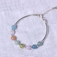Wholesale Pure Stone Silver Ring - Charm S925 pure silver sweet hand string lovely candy color single - ring natural Morgan stone bracelet gift - hand morganite wholesale
