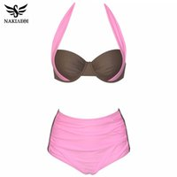 Wholesale sexy plus size swimwear for sale - 2018 New Sexy Bikinis Women Swimsuit High Waisted Bathing Suits Swim Halter Push Up Bikini Set Plus Size Swimwear XL