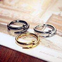erkekler için altın taş yüzük tasarımları toptan satış-Yeni Varış Moda aşk aşıklar halka üst tasarım 18 K altın kaplama taş Ebedi aşk erkekler ve kadınlar alyans takı hediye