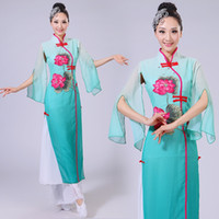 şemsiye kostümleri toptan satış-Klasik Dans Giyim Yangko Giyim Çin Halk Dans Kostümleri Kadın Şemsiye Kostümleri Çin Fan