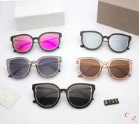 lente azul para gafas al por mayor-Top marca de moda Pilot tom Sunglasses Diseñador Gafas de sol para hombres mujeres Gradient Alloy Metal Gold Blue Glass Lens Original Case Box # 8135