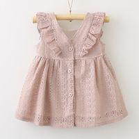 Wholesale Girls New Cotton Frocks - 2018 new designs kids clothing baby girl princess dress lace falbala v-neck frock designs