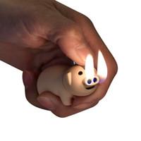 isqueiros a gás usb venda por atacado-Adorável Cutie Mini Pequeno Porco Estilo Animal Home Decor Cigarro Cigarro Gás Butano Isqueiros À Prova de Jato Portátil moda USB isqueiro