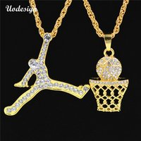 Wholesale bling numbers - Uodesign Hip Hop Iced Out Bling Full Rhinestone Number 23 & Sports Man Pendants Necklaces Gold Color Necklace for Men Jewelry