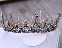 coroas redondas para noivas venda por atacado-Europeu retro coroa de noiva barroco coroa de casamento rodada coroa de casamento cocar jóias