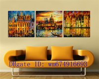 Wholesale Oil Painting Framed Abstract Building - Building Lake , 3 Pieces Home Decor HD Printed Modern Art Painting on Canvas (Unframed Framed)