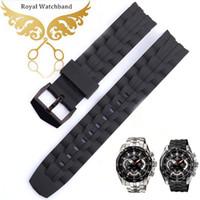 силиконовый резиновый браслет ремешок для часов черный оптовых-22mm New Men's Extra Long Silicone Rubber Watch Band Strap Bracelets Black Steel Buckle Fit  EF-550PB-1AV