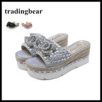 Wholesale making suede - women designer shoes hand made beading rhinestone platform slipper high heel wedges shoes summer sandals 7.5cm size 34 to 39