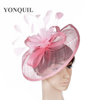 Wholesale big candy boxes - 2018 NEW arrival 21 colours or pink big Sinamay fascinator hat with feather flower for women kentucky derby wedding party races