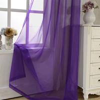 Wholesale door decors resale online - Eco Friendly Rainbow Solid Voile Door Window Curtain Drape Panel Sheer Tulle For Home Decor Living Room Bedroom Kitchen P184z15