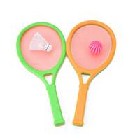 raqueta de plástico al por mayor-Niños Puzzle Raqueta de tenis Badminton Discreteness Unisex Plastic Sports Student Gift