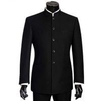 размер мандарина воротник куртка оптовых-2018  Men Suits Big size Chinese Mandarin Collar Male Suit Slim Fit Blazer Wedding Terno Tuxedo 2 Pieces Jacket & Pant