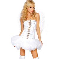 ingrosso gioco di costume sexy nero-Costumi sexy Cosplay Angels CHEAPEST Giochi di ruolo D0971 Costume sexy di Halloween per donna Black White with Wings