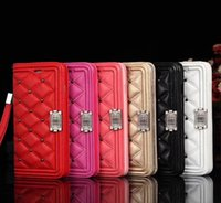 Wholesale iphone case lanyard wallet - Luxury brand wallet Phone Case for iphoneX iphone 8 7 6 6s Plus Quilting Leather Rivet lanyard style shockproof Cover