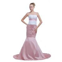 ingrosso fuori abito bianco in rilievo promenade-Il più nuovo vestito da promenade della sirena di rosa bianca con il vestito dal tappeto delle signore di disegno delle spalle sottili di appliques strette di perline