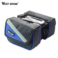 водонепроницаемый мобильный телефон оптовых-WEST BIKING Bicycle Top Tube Frame Cycling Pannier Water Resistant Bike Bag & Mobile Phone Double Pouch Screen Touch Holder