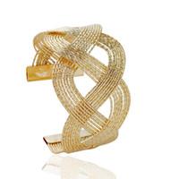 b88852c65b6f FU Nueva Llegada Material de Aleación de Zinc Oro de Moda Elegante y  Plateado Brazalete Abierto Cruzado para Mujeres