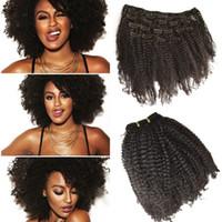 preço de cabelo humano kinky afro venda por atacado-Preço de fábrica 7 pcs Clipe Em Cabelo Humano 4a, 4b Afro Crespo Encaracolado Virgem Do Cabelo Humano Natural Preto Atacado Barato G-EASY