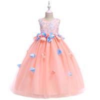 baby blue junior vestidos de dama de honor al por mayor-Apliques de belleza al por menor Petal Princess Evening Prom Vestido largo con grandes fajas bordado Vestido lindo de las muchachas de flores LP-201