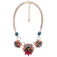mehrfarbige indische halskette großhandel-2018 modetrends frauen aussage halskette indian schmuck multicolor naturstein floral vintage halskette collier