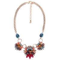 collar indio multicolor al por mayor-2018 Tendencias de la moda Collar llamativo para mujer Joyería india Multicolor Piedra Natural Floral Vintage Collar Collier