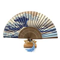 fan bağları toptan satış-Ücretsiz Kargo 1 adet Japon Gerçek Ipek Fan Fuji Dağı Fuagawa Dalgalar Bambu Zarif Cep Katlanır Fan Taşınabilir Kadın Hayranları Zanaat