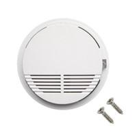 yangın güvenlik alarmı toptan satış-9V Pil ile Beyaz Kablosuz Duman Dedektörü Sistemi Yüksek Güvenlik Duyarlı Yangın Alarm Sensörü Ev Güvenlik Tespit için Uygun Kumandalı