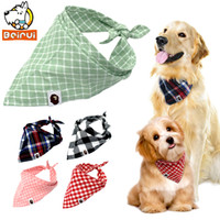 Wholesale plaid dog collars resale online - 5pcs Dog Bandana Plaid Pet Scarf Bow ties Collar Cats Dogs Grooming Accessories for Small Medium Large Pet Chihuahua Pitbull