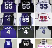Wholesale jersey color blue - Throwback #4 Chris Webber Jersey 16 Peja Stojakovic 21 Vlade Divac 55 Jason Williams Retro Basketball Jerseys Purple Black White Color