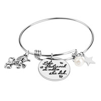 Wholesale channel online - Adjustbale Stainless Steel Bangle Bracelete She belived she could so she did Horse Star Girl Women