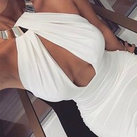 ingrosso abiti fasciati-Hollow Out Party Bodycon Bandage Dress Women 2018 Off spalla Choker Long Pencil Dress Sexy Backless Split Winter Dress