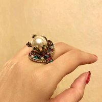 Wholesale vintage colorful resin resale online - 2018 Vintage brass luxurious ring with nature colorful pearl decorate and stamp logo charm ring jewelry christmas day thanksgiving valentin