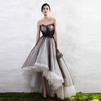 Wholesale dress tulle hem for sale - Group buy Black and White High Low Prom Dresses Sweetheart Pleat Tulle Evening Party Dress Tiered Bottom Asymmetrical Hem Prom Gowns