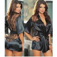 intime nachtkleider großhandel-Sexy dessous plus size satin spitze schwarz kimono intime nachtwäsche robe sexy nachtkleid frauen sexy erotische unterwäsche